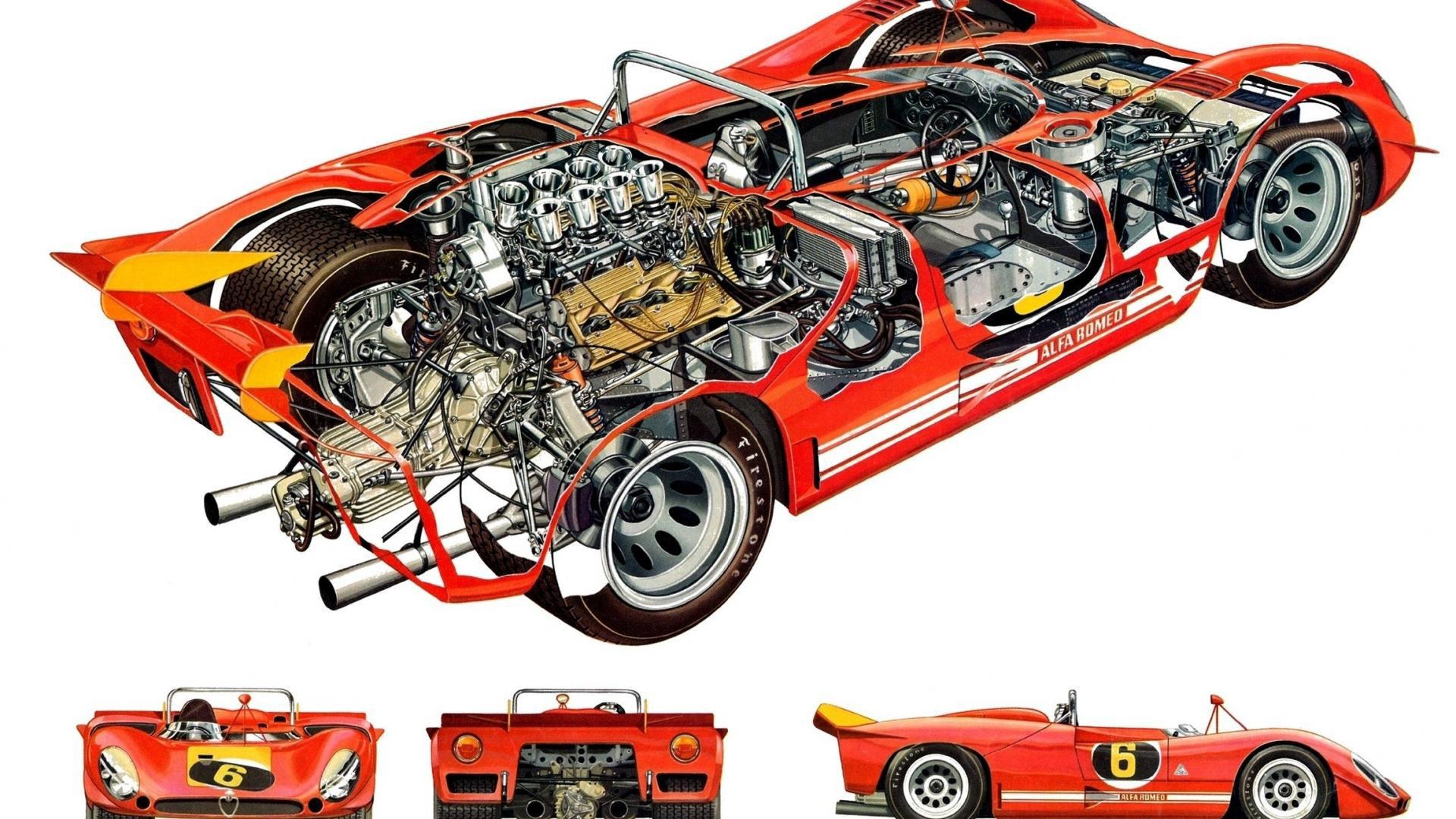 Alfa Romeo Tipo 33 cutaway