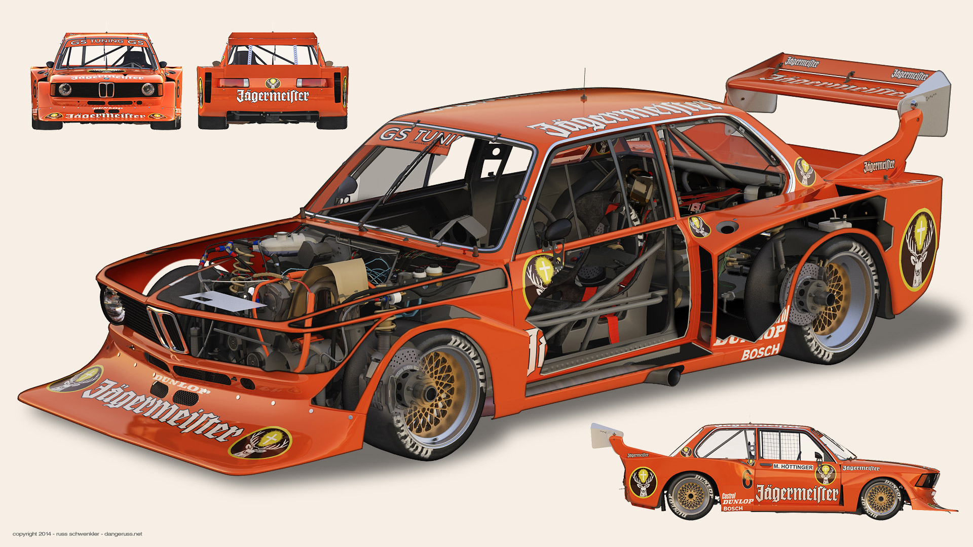 BMW 320i Turbo Group 5 cutaway