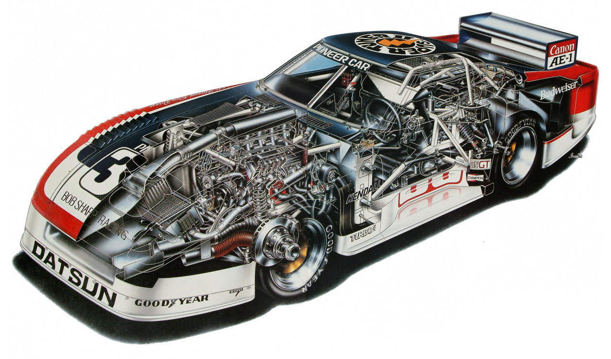 Datsun Bob Sharp Racing car cutaway