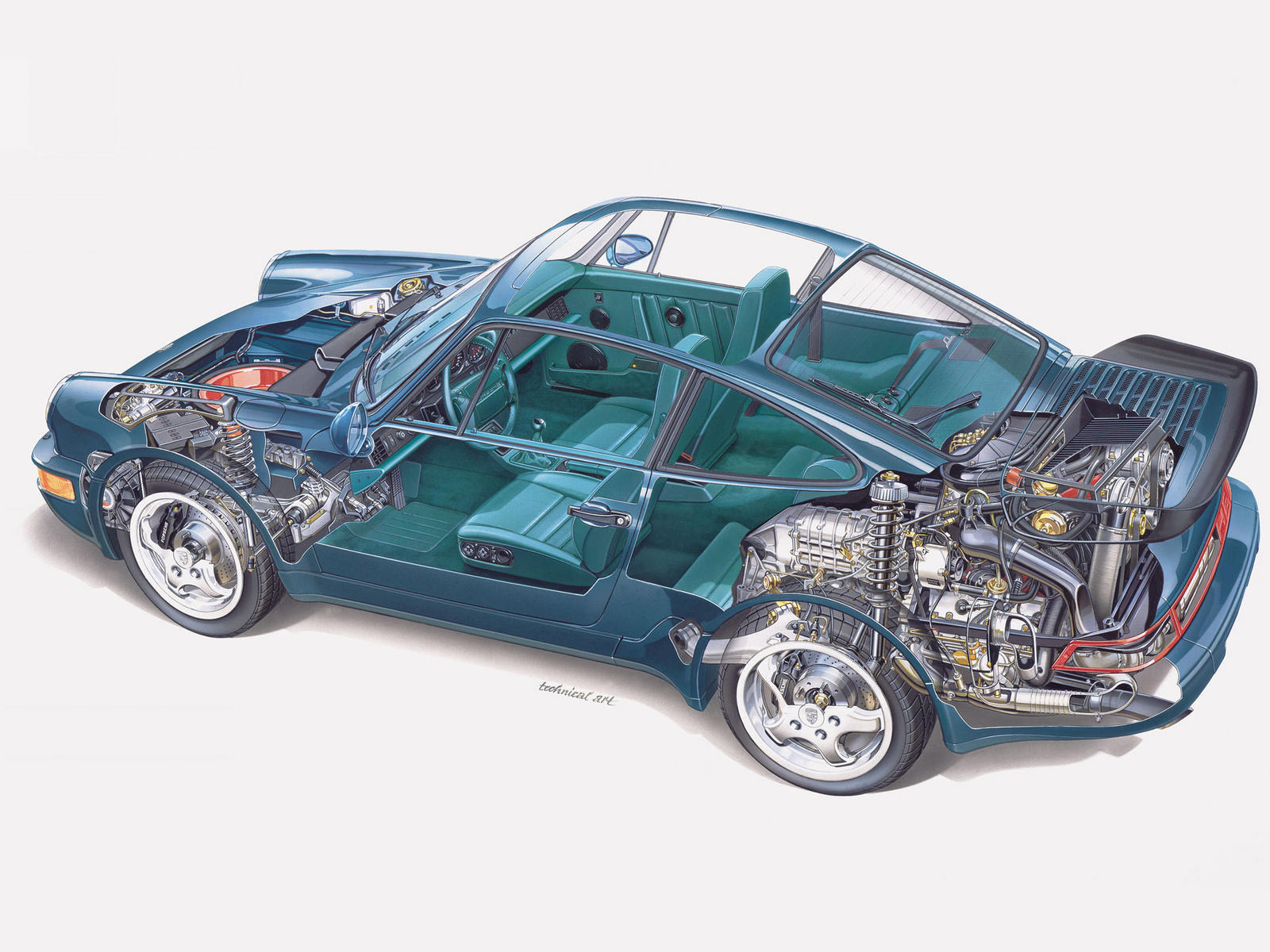 Porsche 911 Turbo Cutaway Drawing