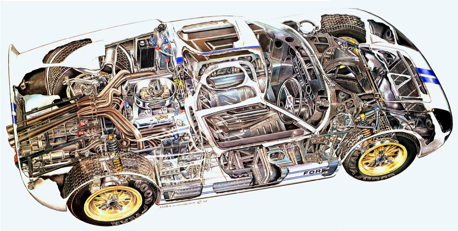 Ford GT40 Cutaway Drawing