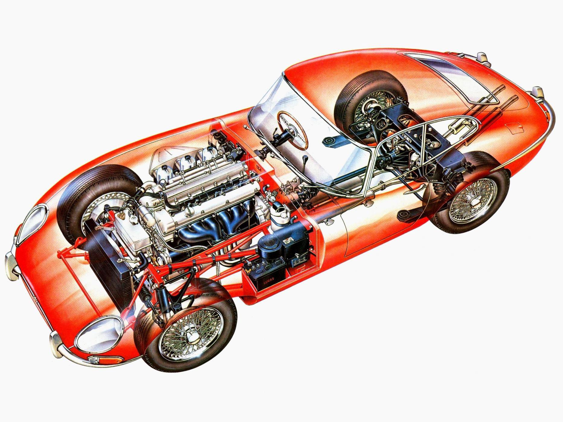 Jaguar E-Type cutaway drawing