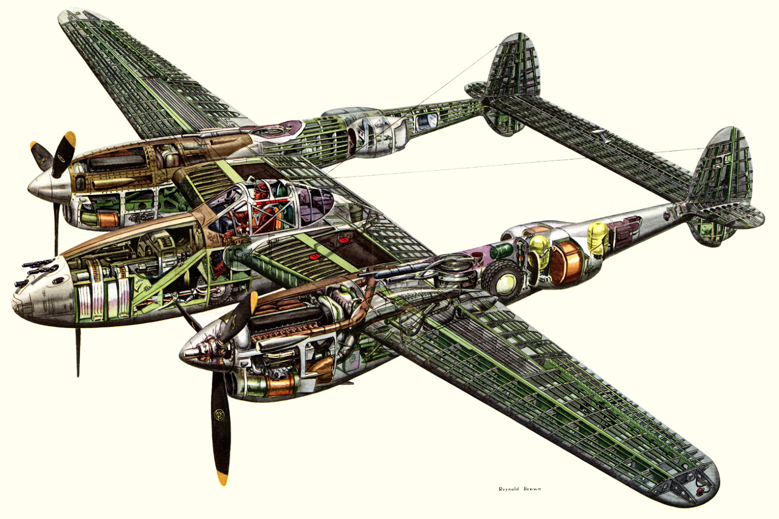 Lockheed P-38 Lightning cutaway