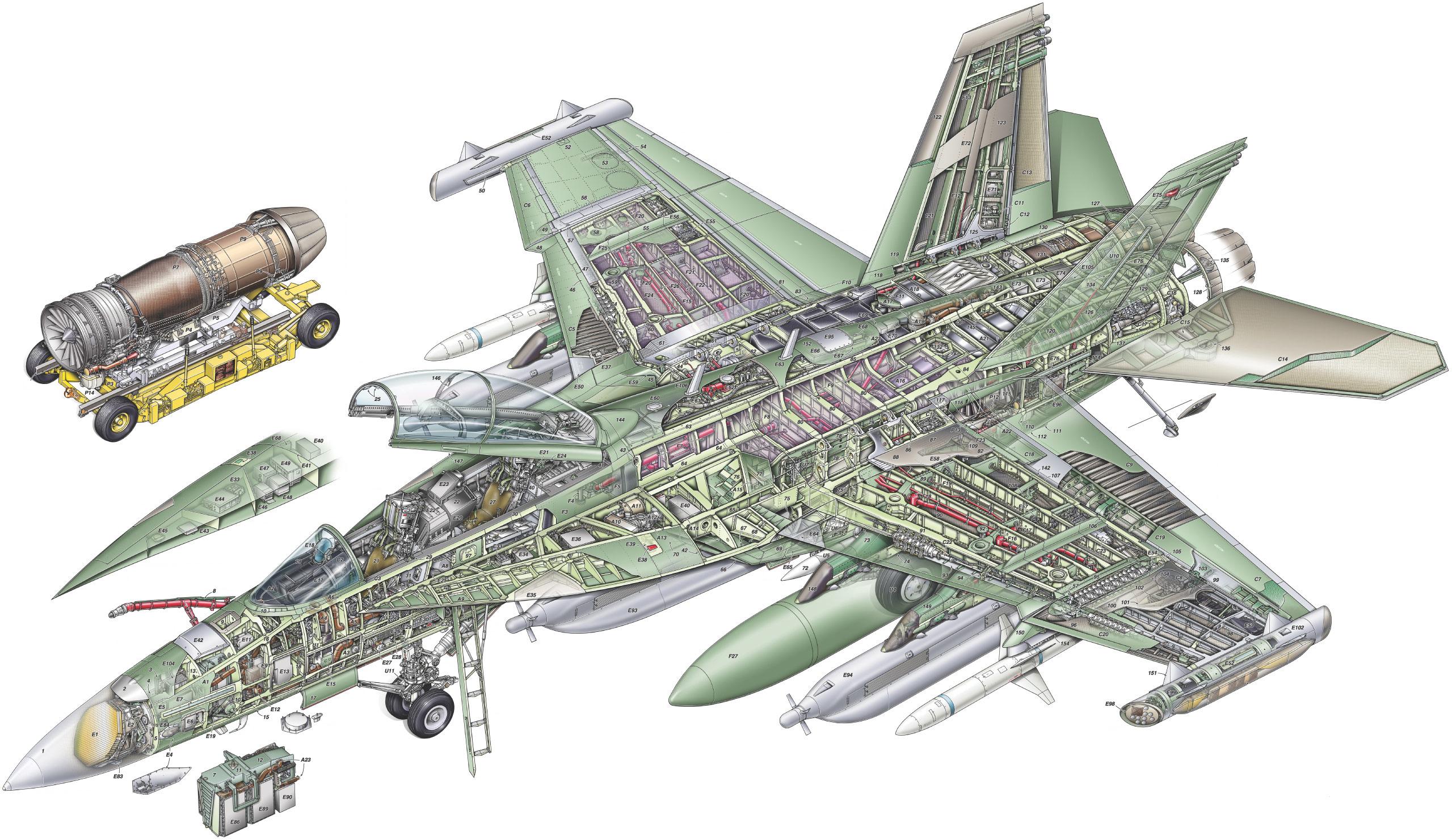 Boeing EA-18G Growler cutaway