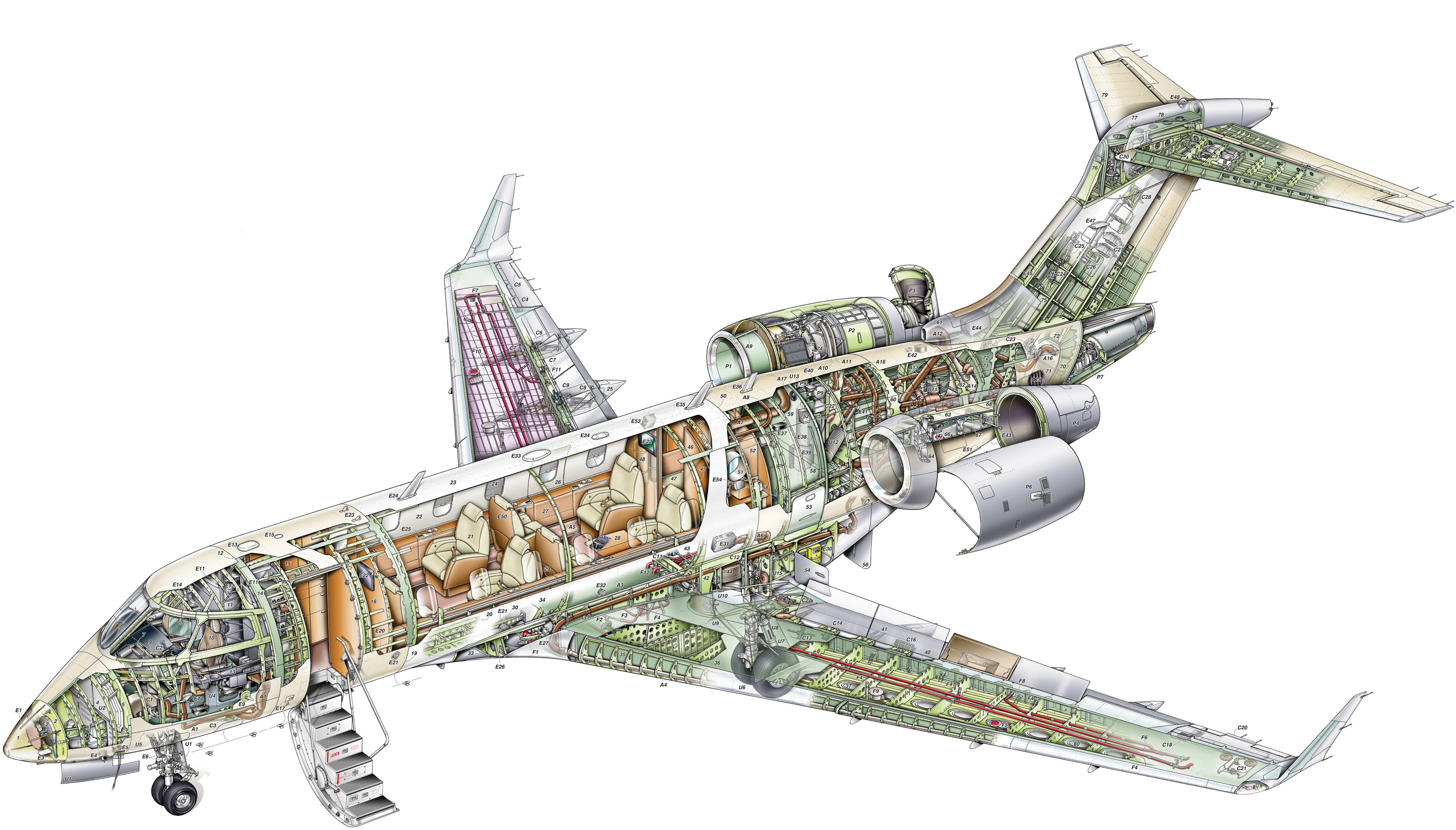 Bombardier Challenger 300 cutaway