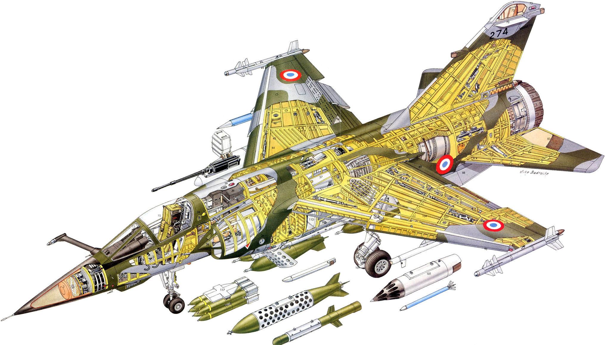 Dassault Mirage F1 cutaway