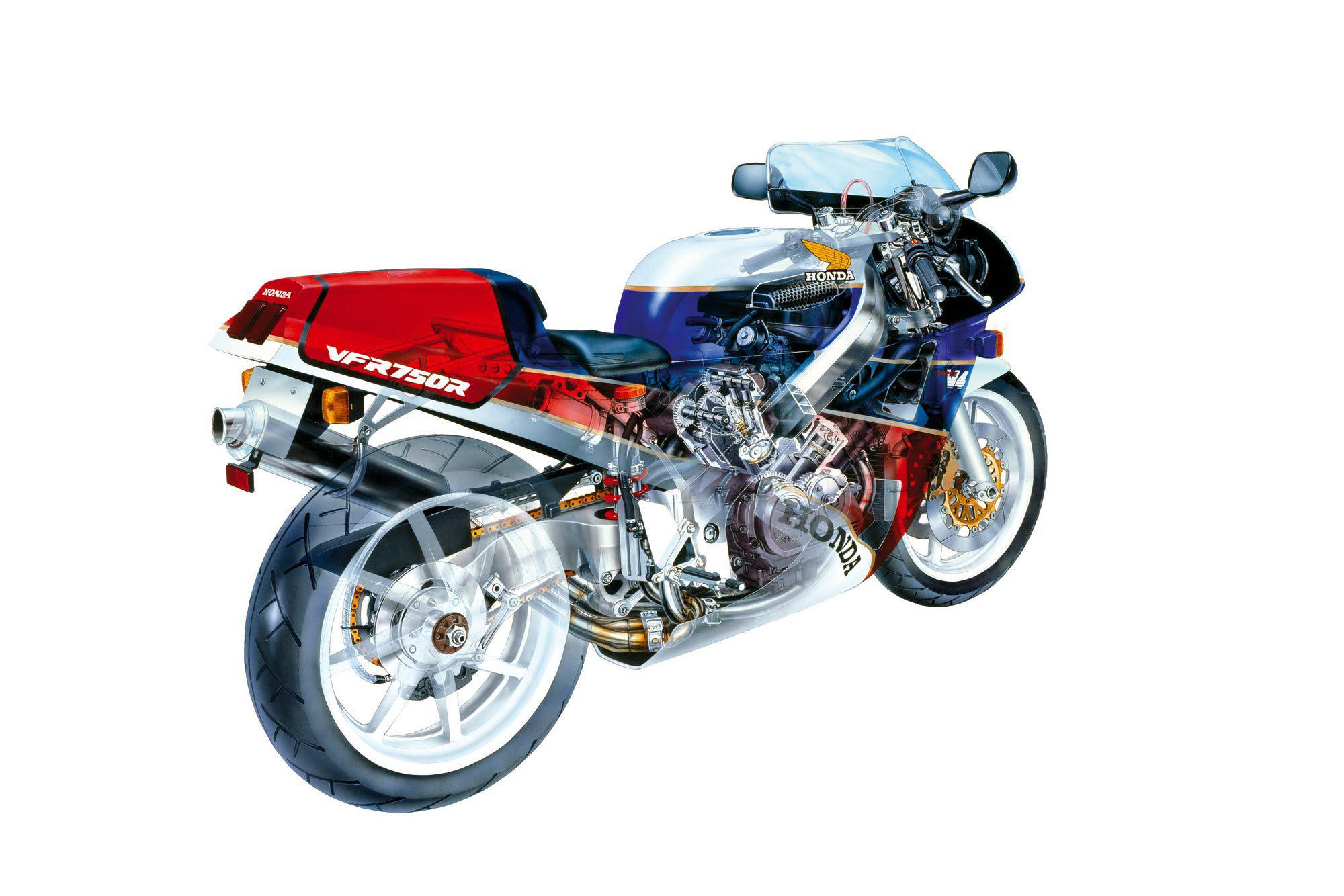 Honda VFR750R cutaway