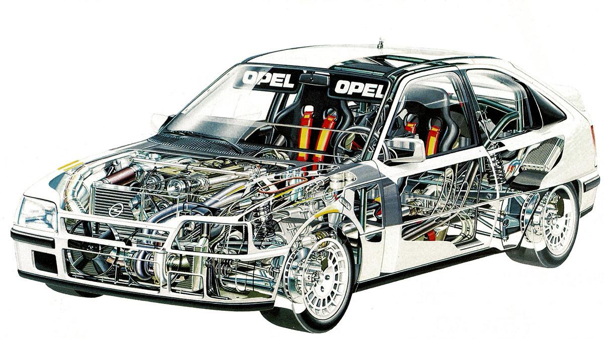 Opel Kadett Rallye cutaway