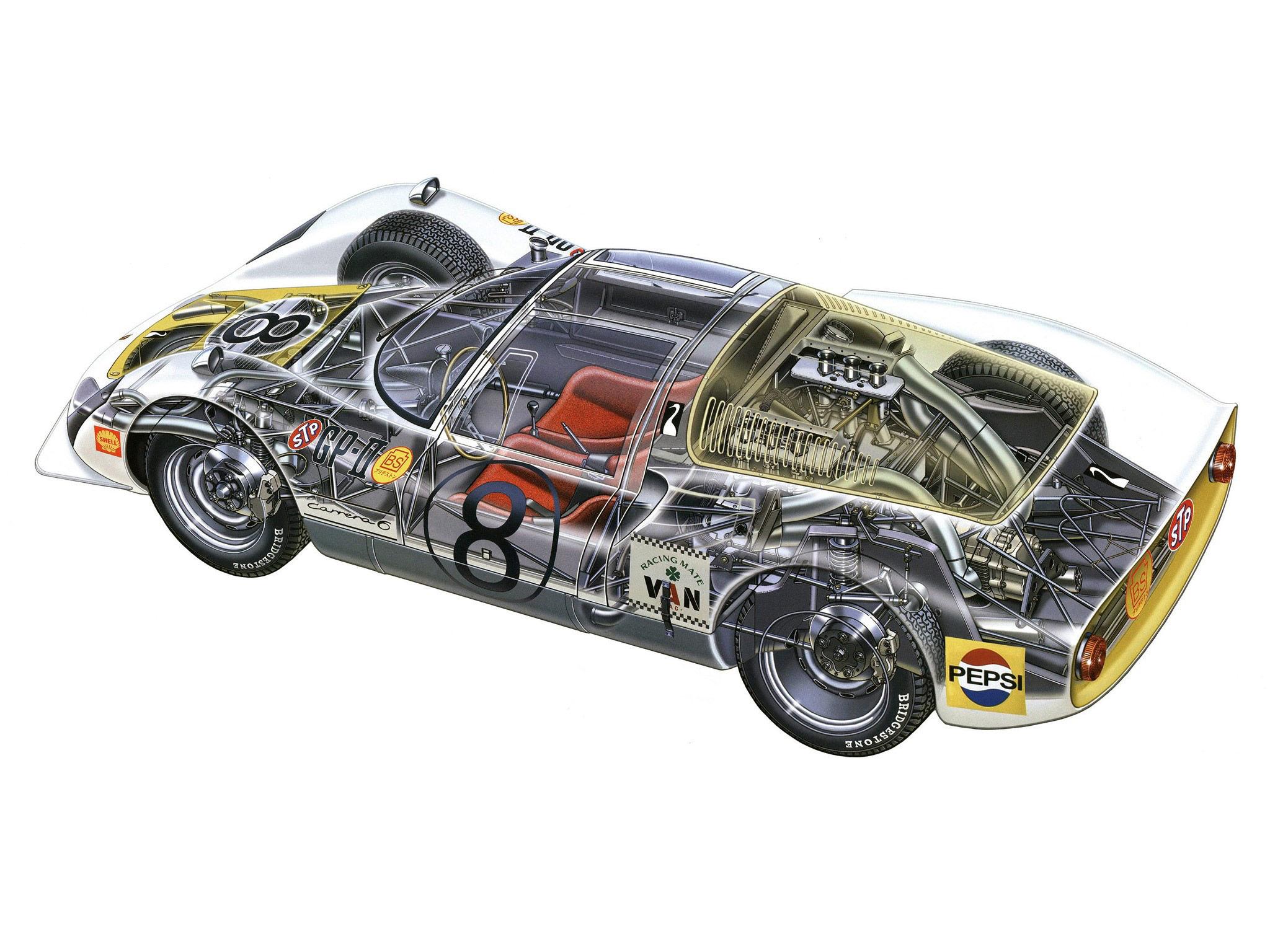 Porsche 906 cutaway