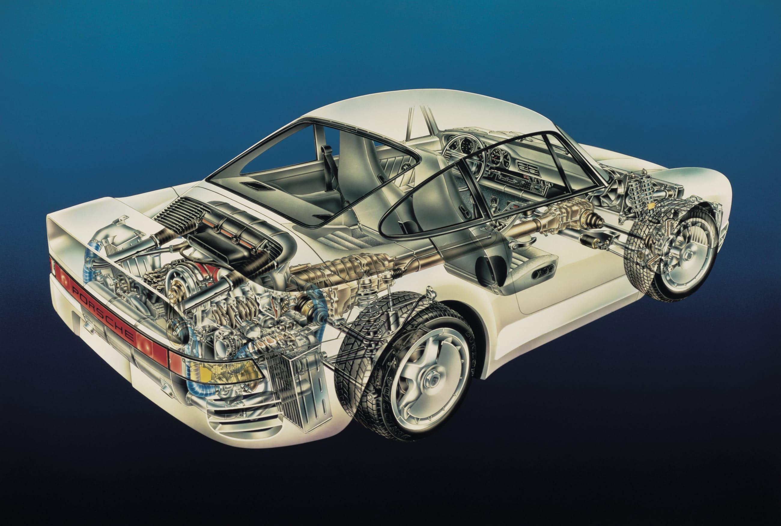 Porsche 959 cutaway