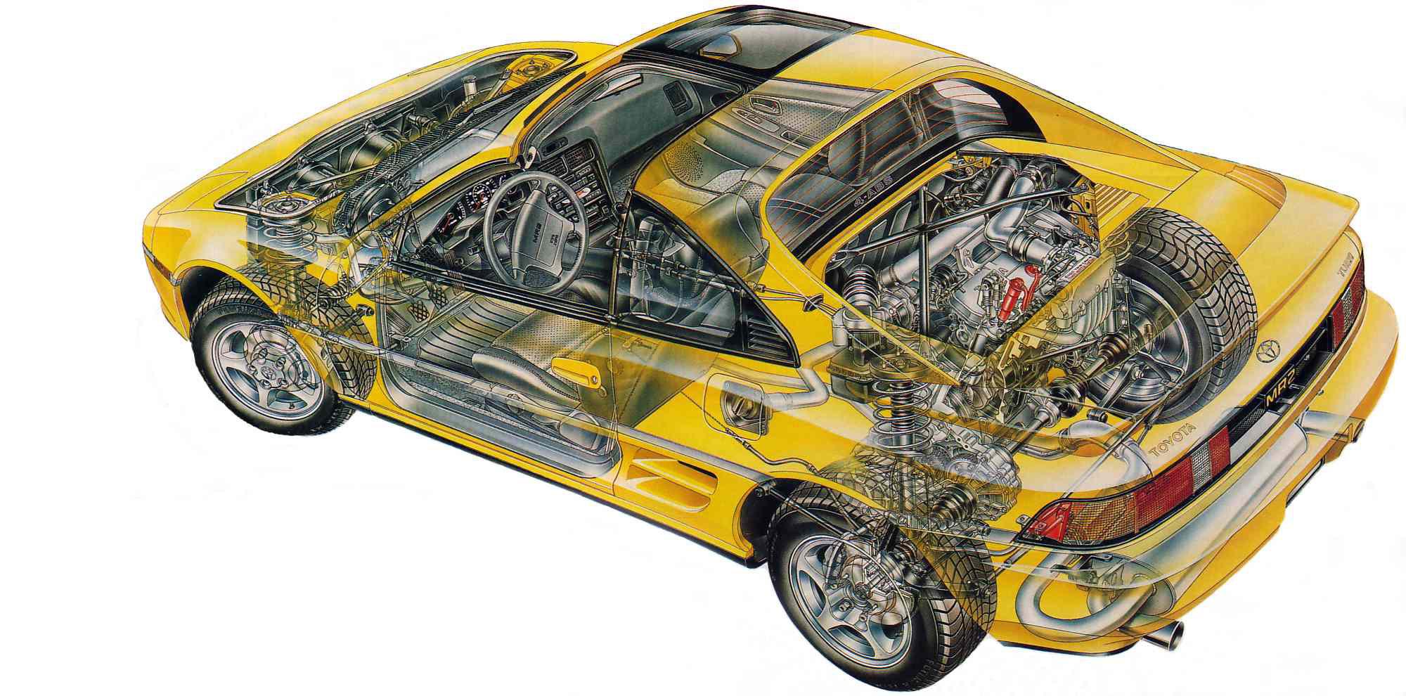 Toyota MR2 W20 cutaway