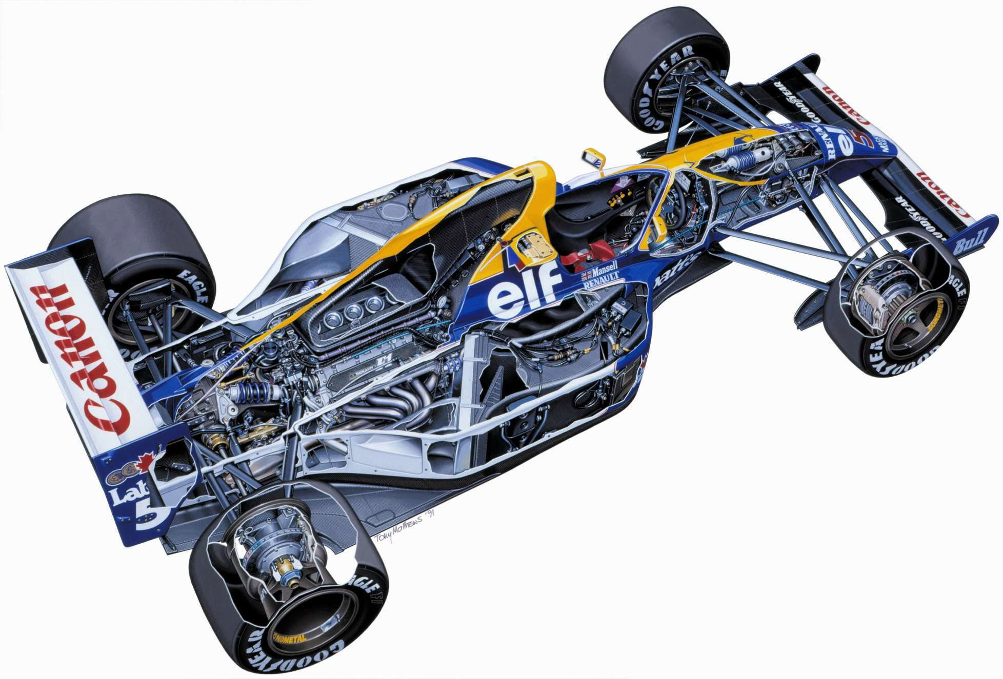 Williams FW14 cutaway