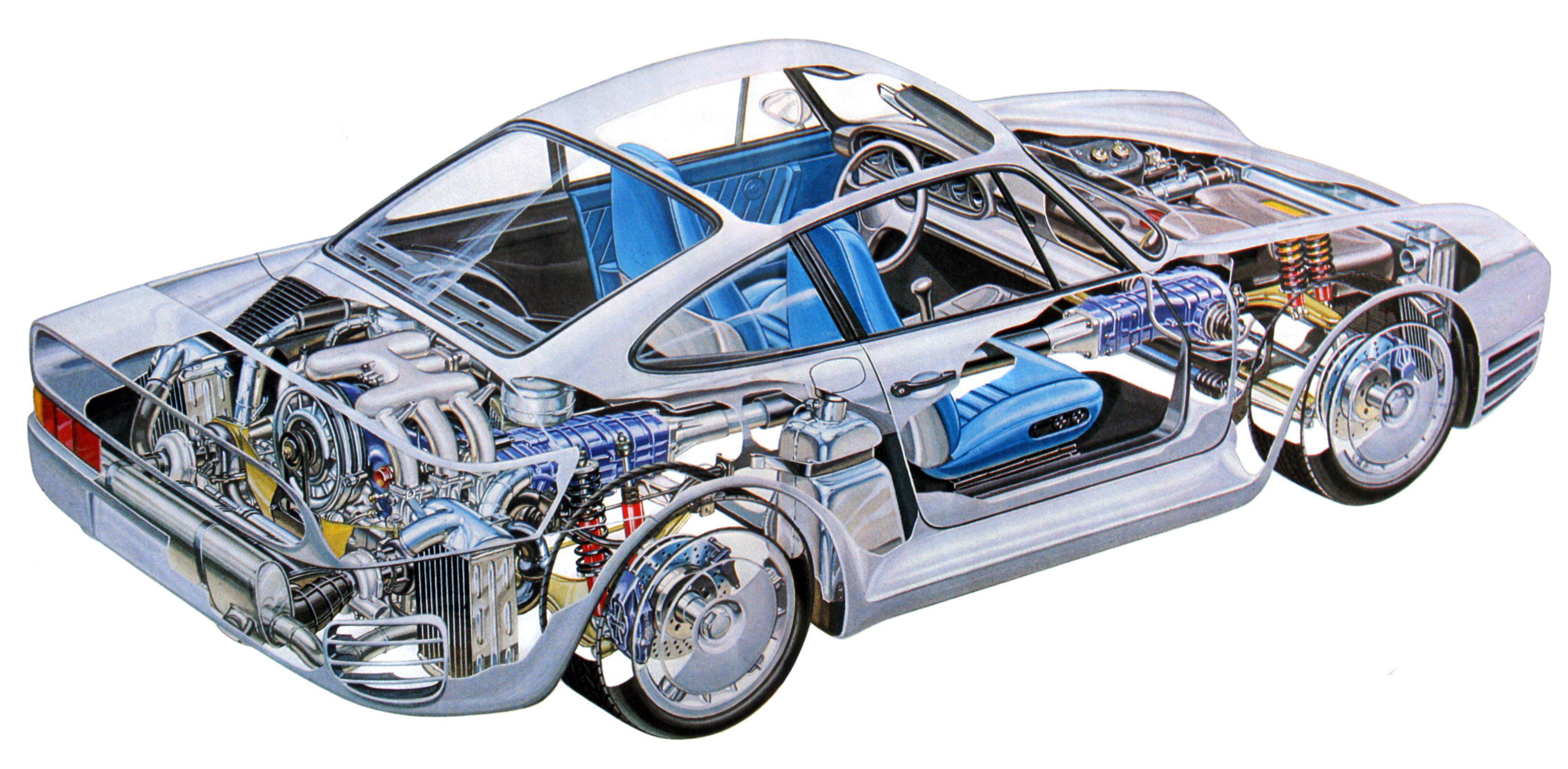 Porsche 959 cutaway drawing