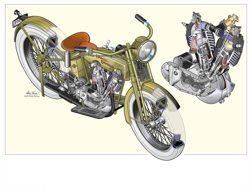 Harley-Davidson F/J Classic Motorcycle cutaway