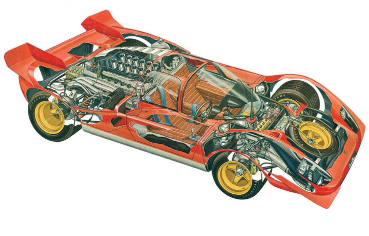 Ferrari 512 cutaway