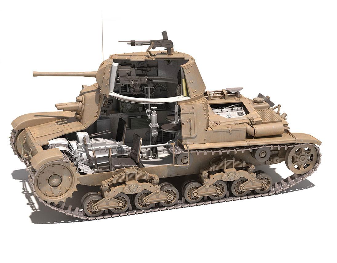 Fiat M14/41 tank cutaway