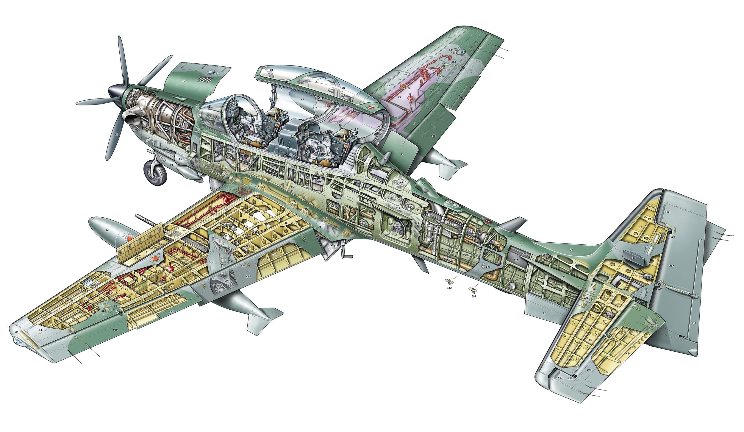 Embraer EMB 314 Super Tucano cutaway