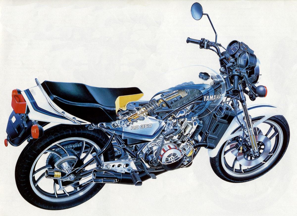 Yamaha RD350 cutaway