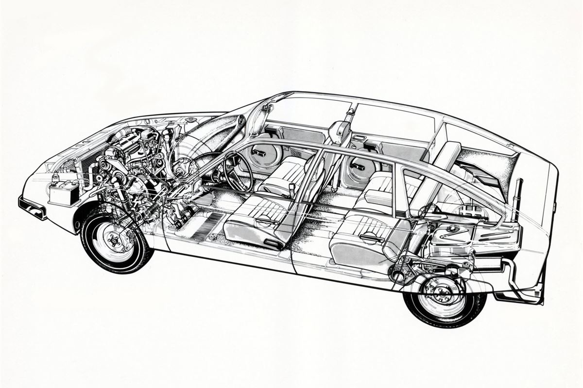 Citroen CX cutaway drawing