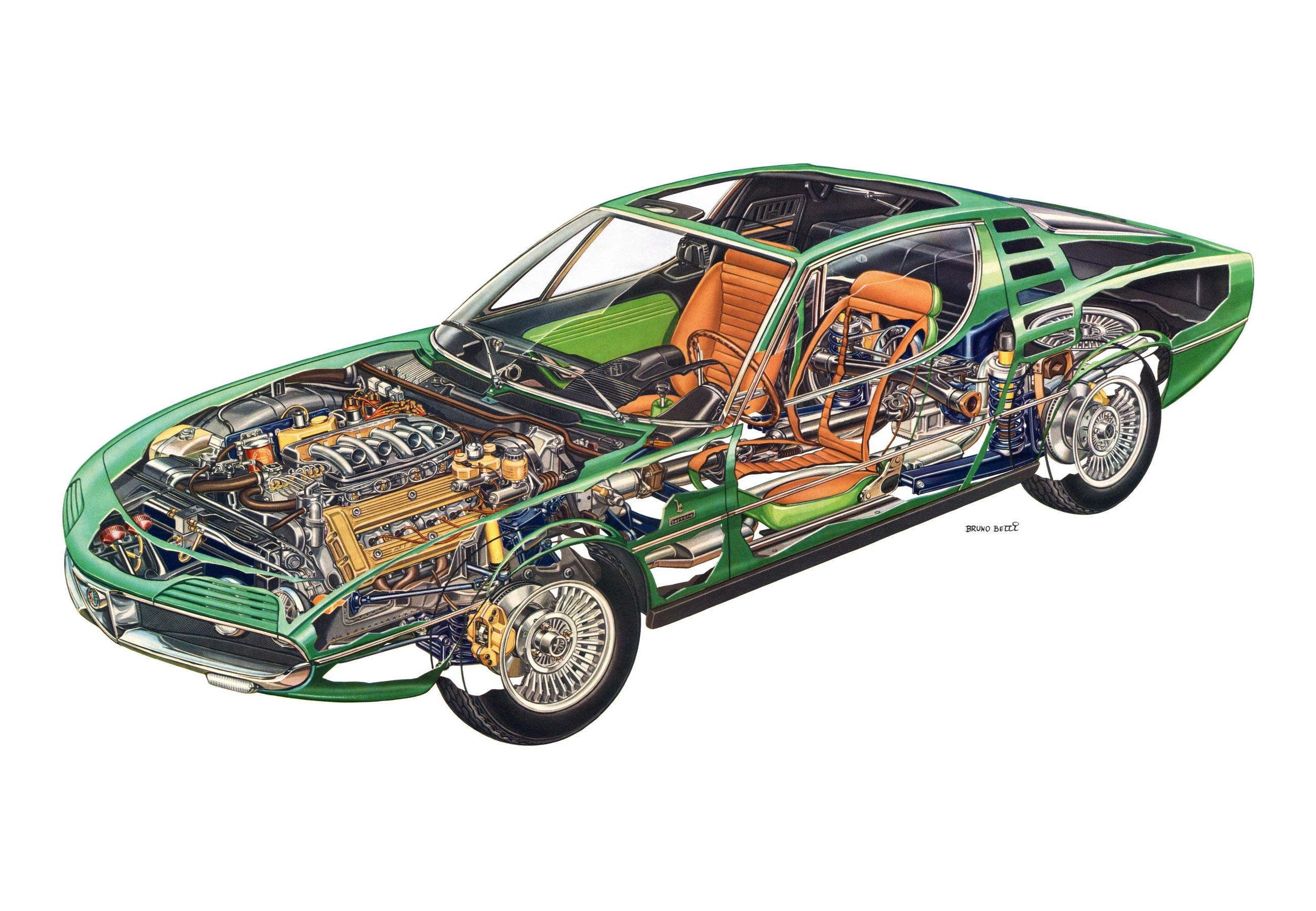 Alfa Romeo Montreal cutaway drawing