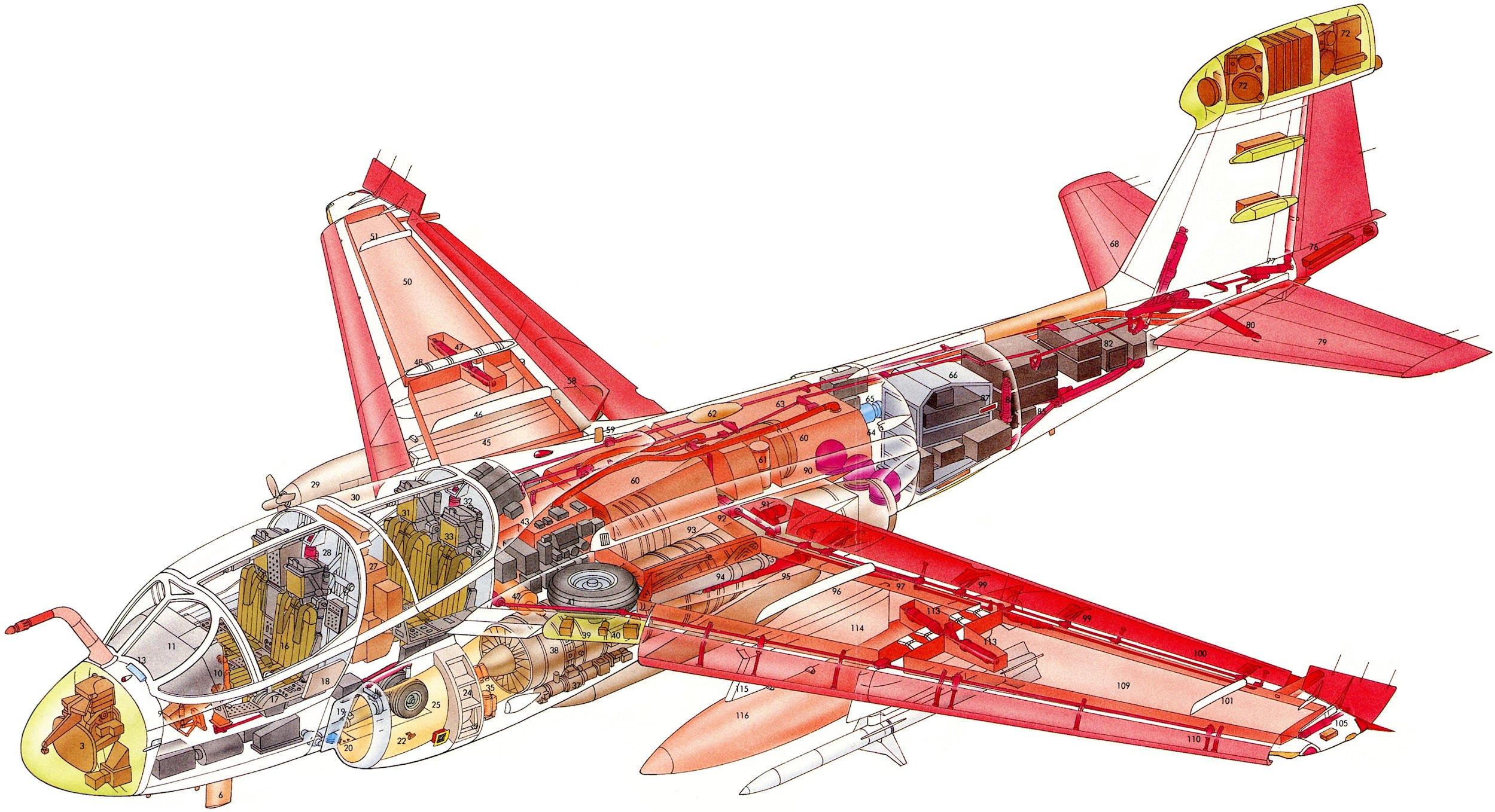 Northrop Grumman EA-6B Prowler cutaway