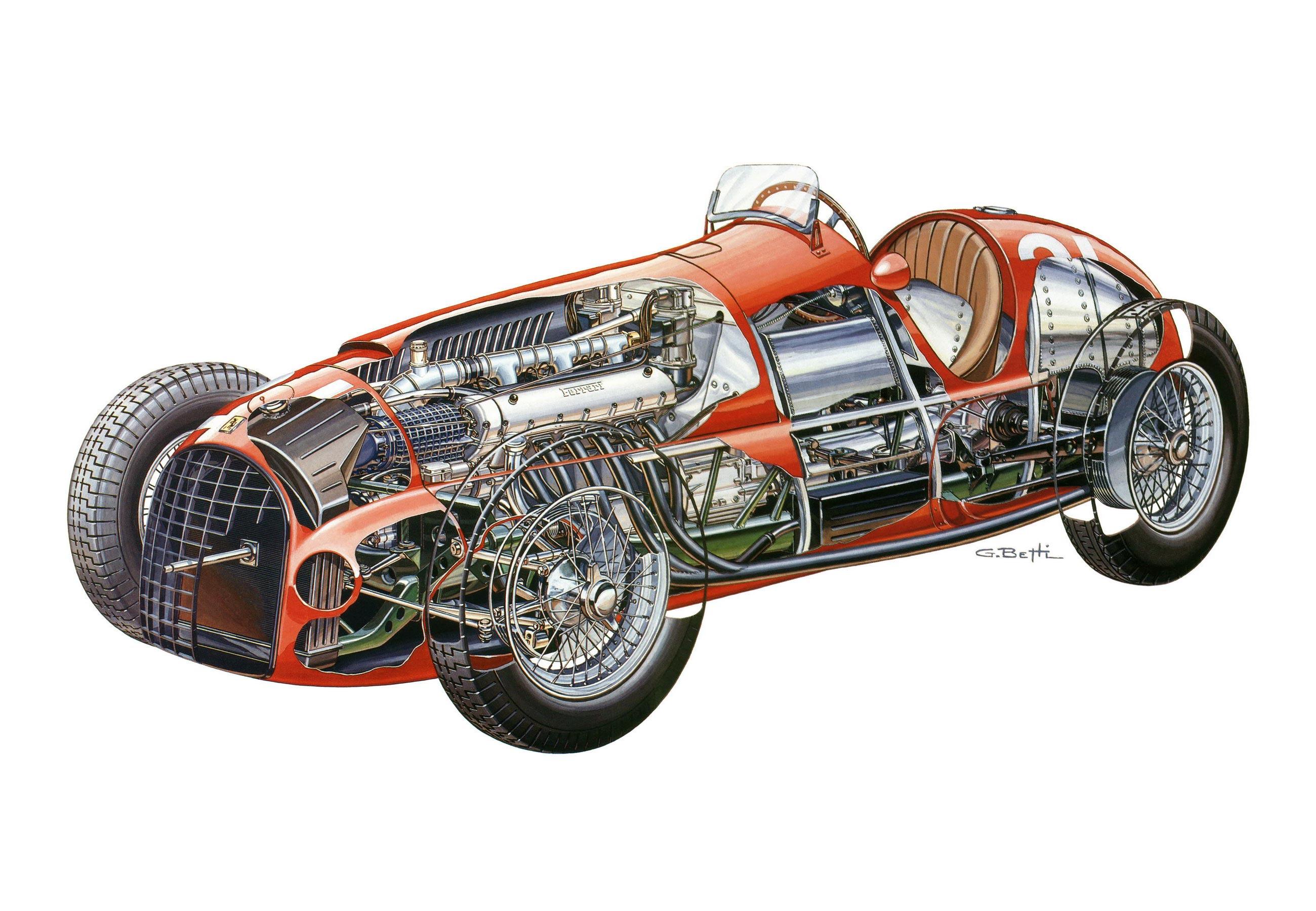 Ferrari 125 F1 cutaway drawing