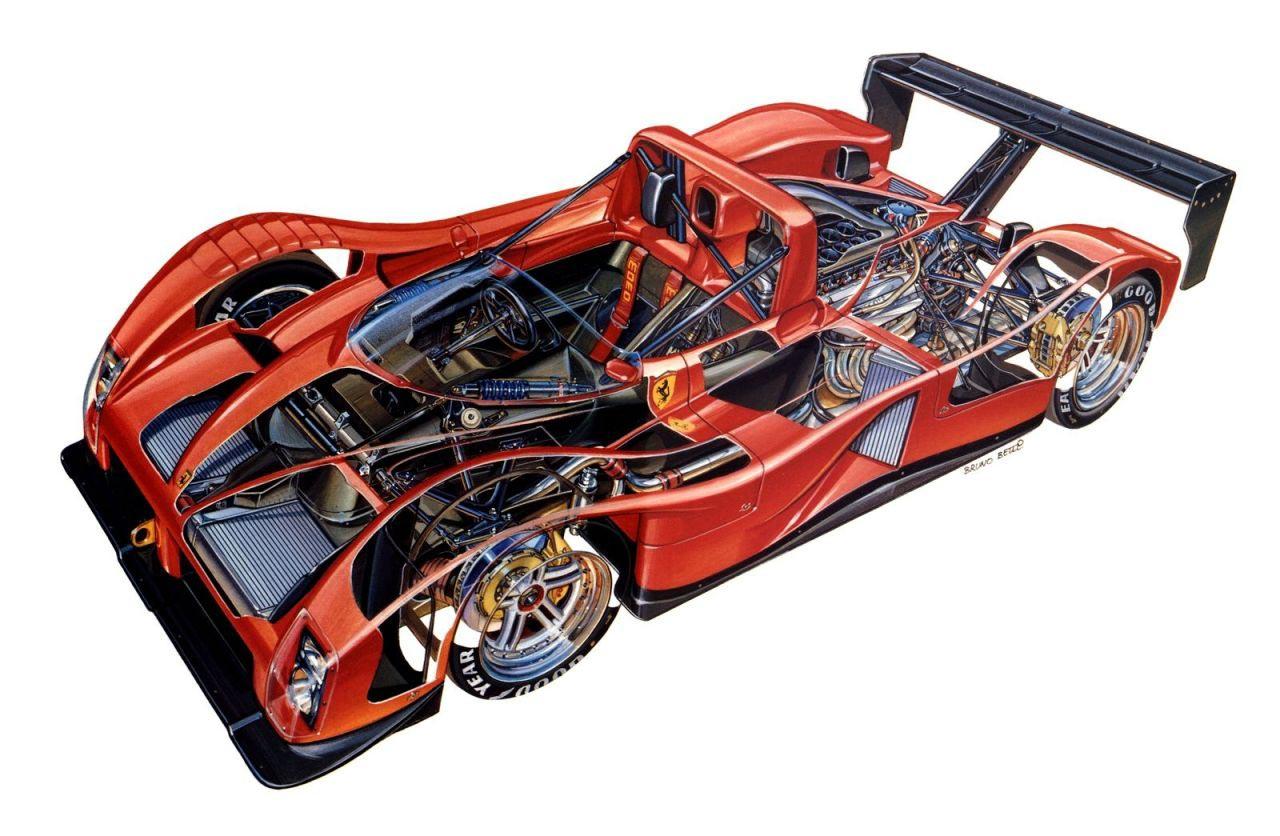 Ferrari 333 Sp Cutaway Drawing In High Quality