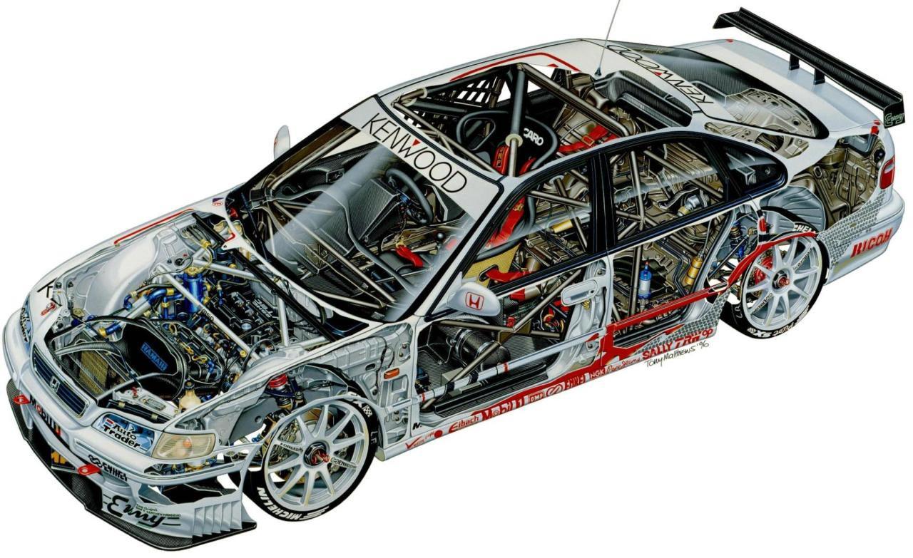 Honda Accord Super Touring Cutaway Drawing In High Quality
