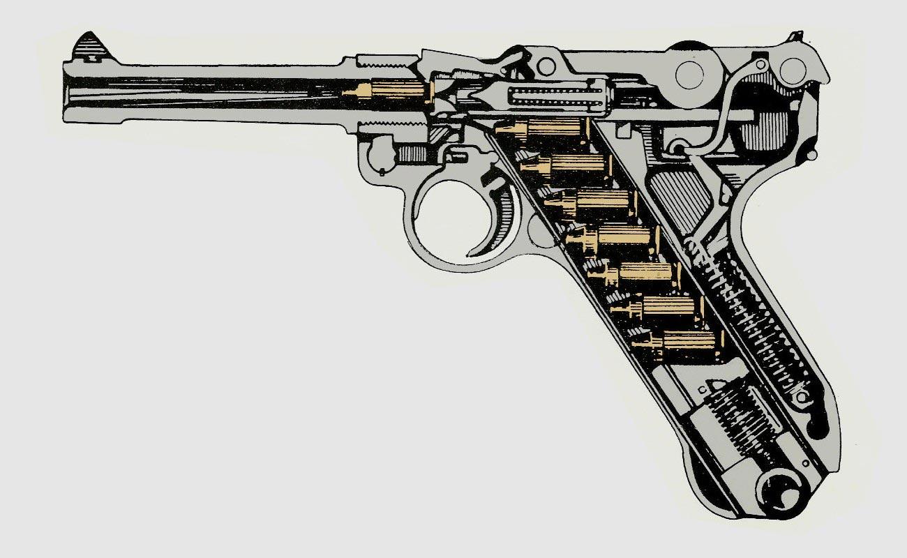 Luger P08 cutaway