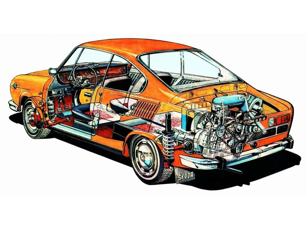 Skoda 110 R cutaway