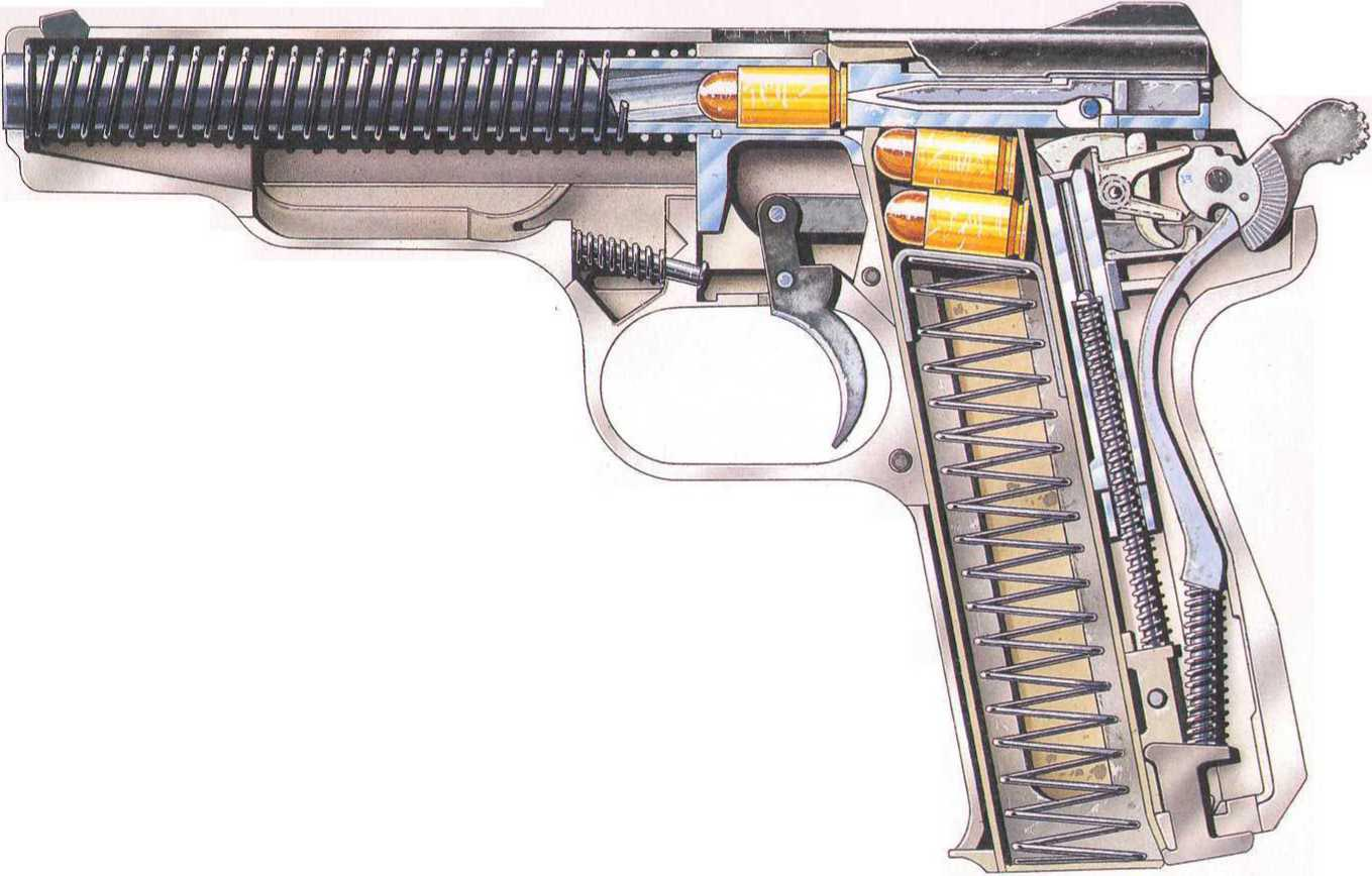Stechkin Automatic Pistol Cutaway Drawing In High Quality