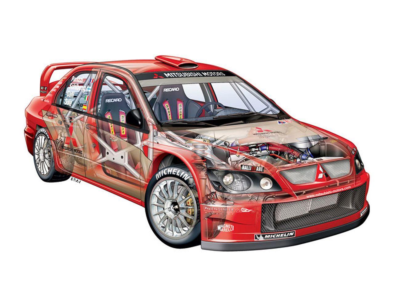 Mitsubishi Lancer WRC cutaway