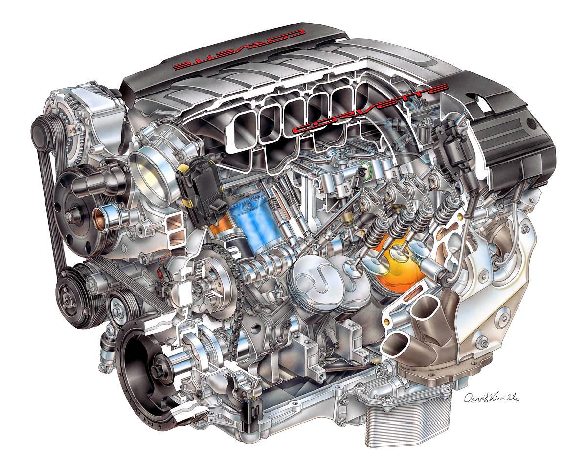 Chevrolet Corvette LT1 V8 Engine cutaway