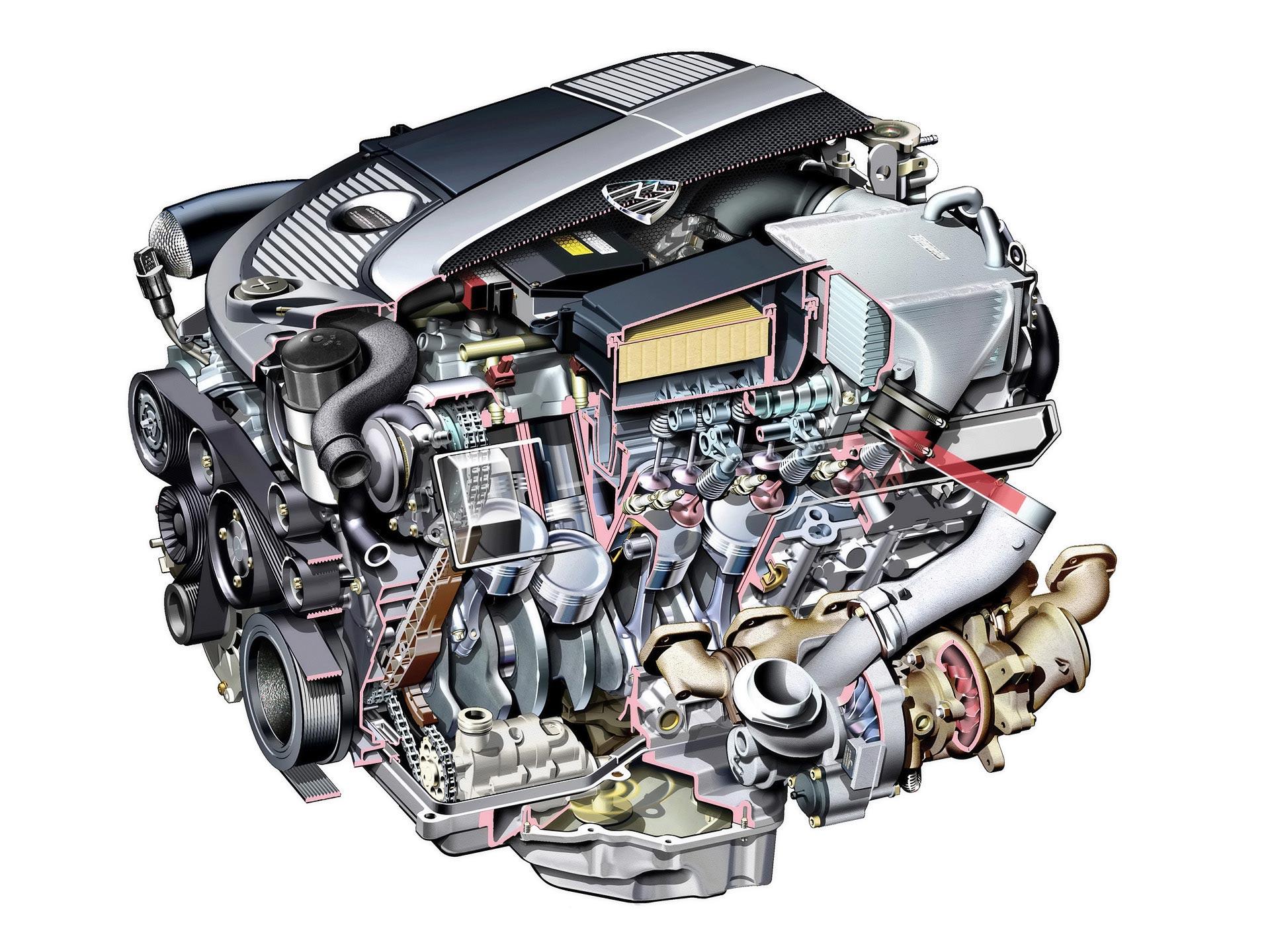 M275 V12 engine cutaway