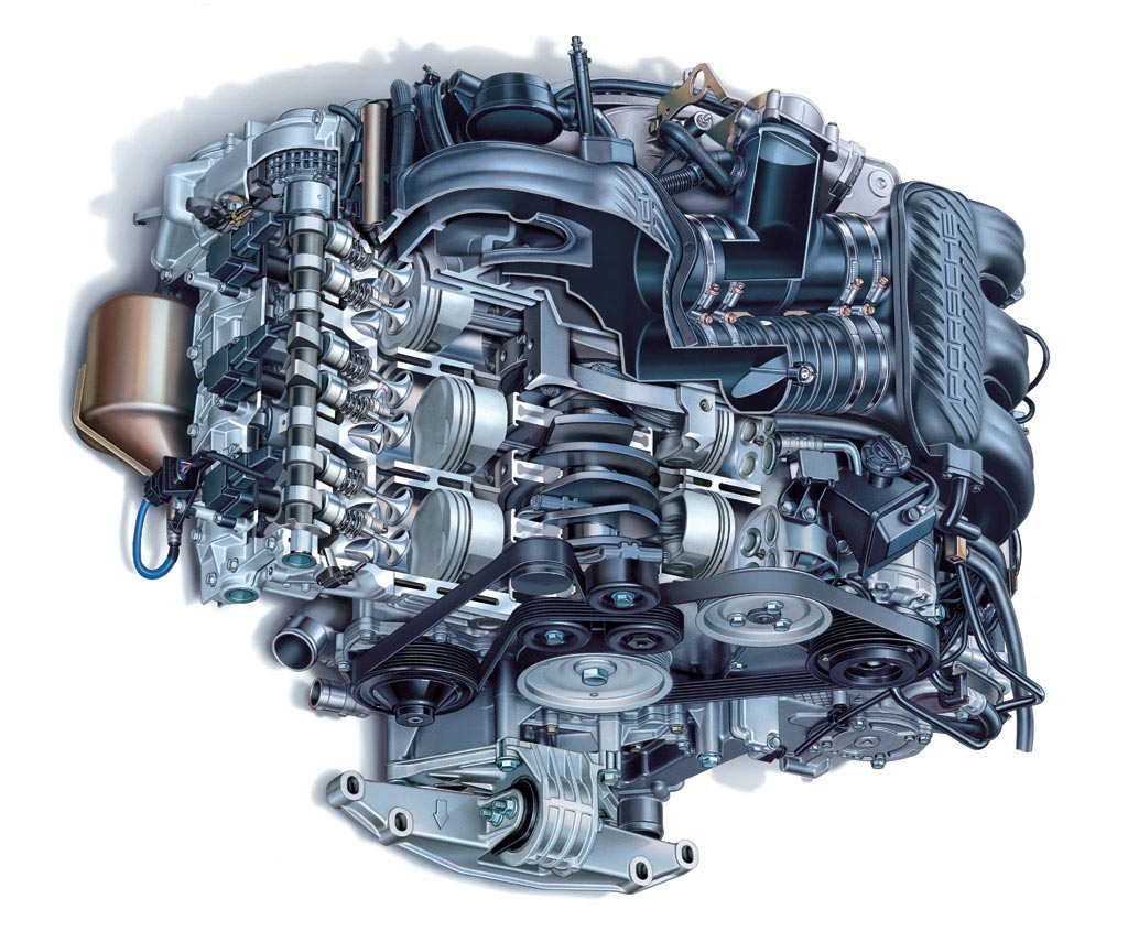 Porsche Boxster Engine cutaway