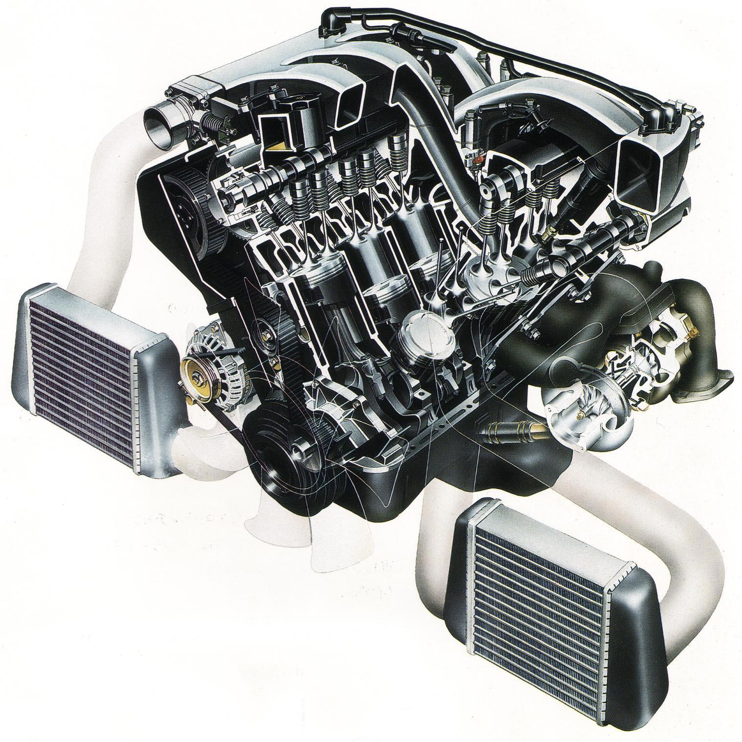 Twin Turbo Engine cutaway