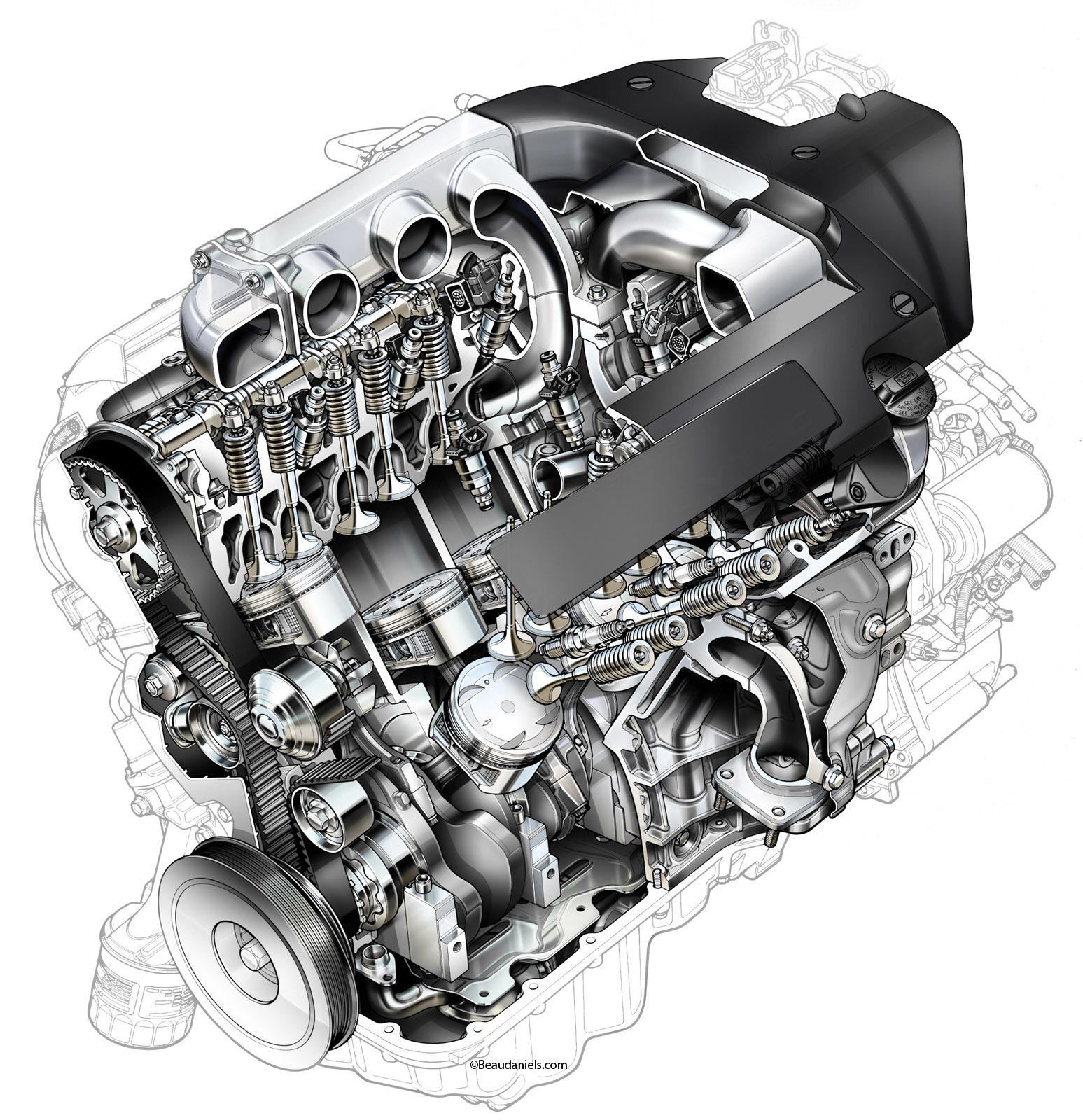 Honda Accord V6 engine cutaway
