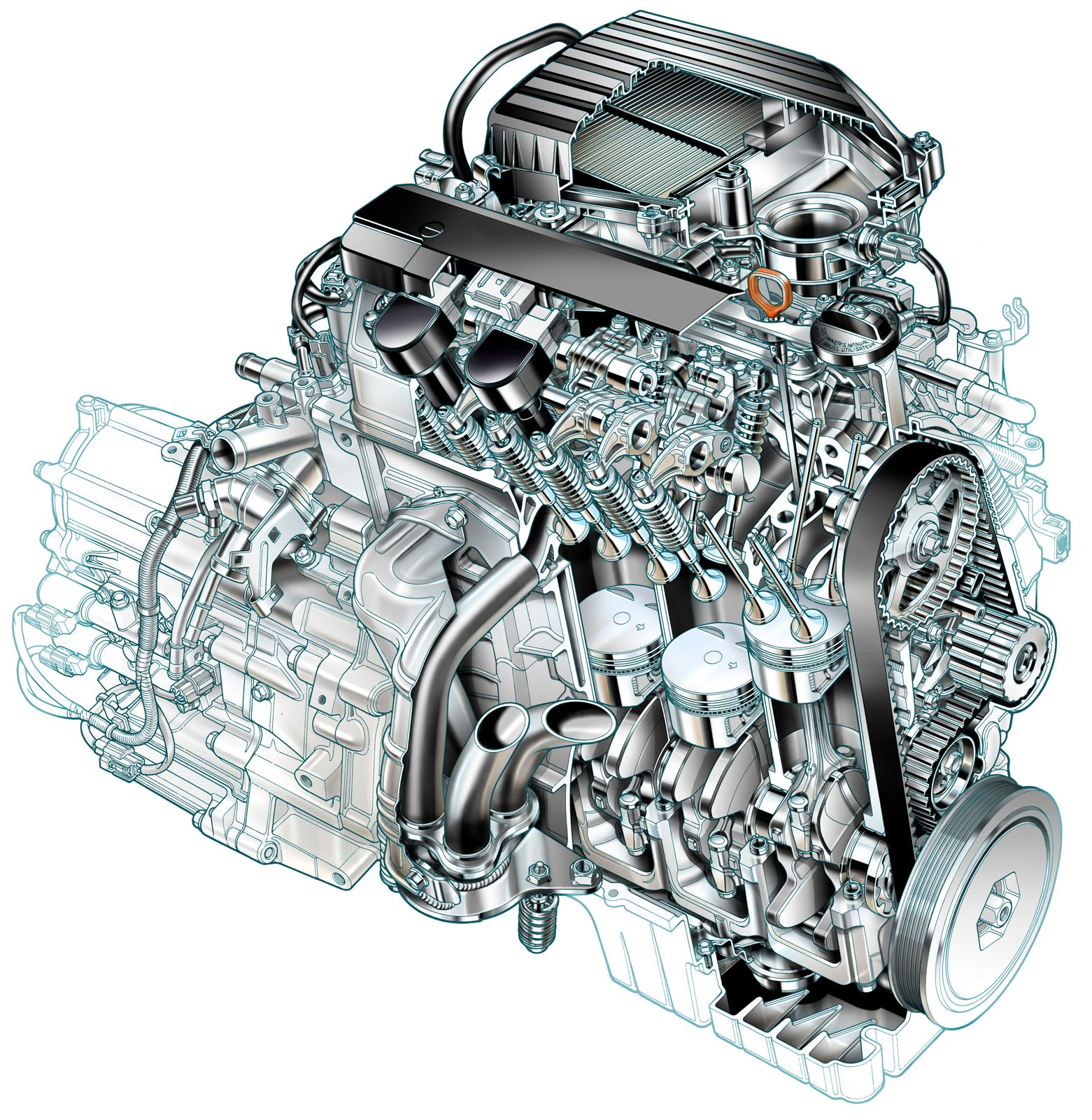 Honda Civic VTEC-E engine cutaway