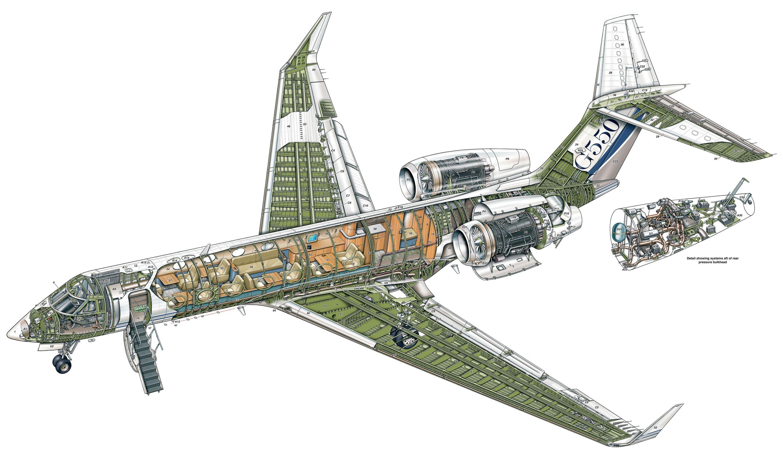 Gulfstream G550 cutaway