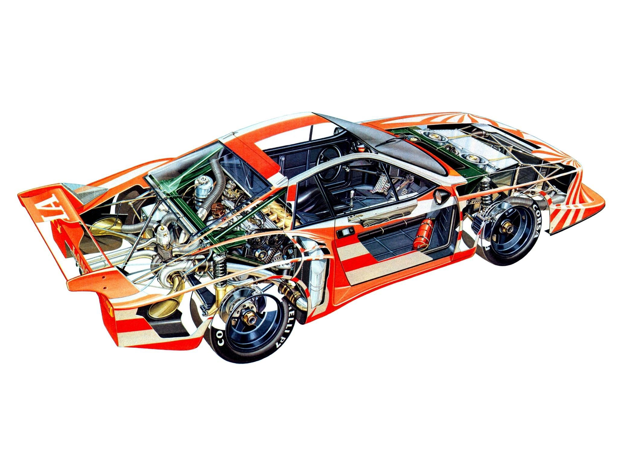 lancia montecarlo turbo gruppe 5 1978 cutaway drawing in high quality
