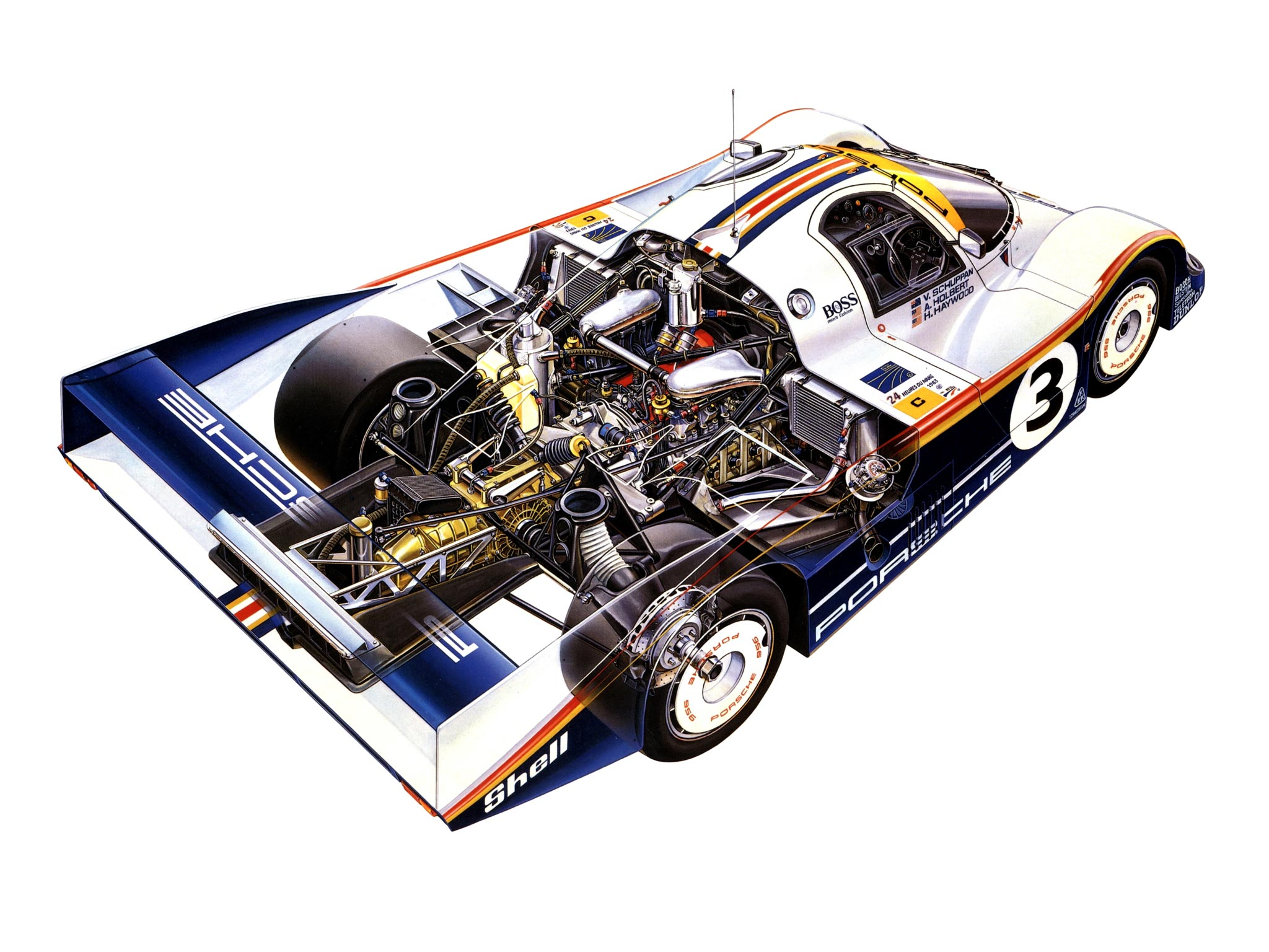 Porsche 956 Cutaway Drawing In High Quality