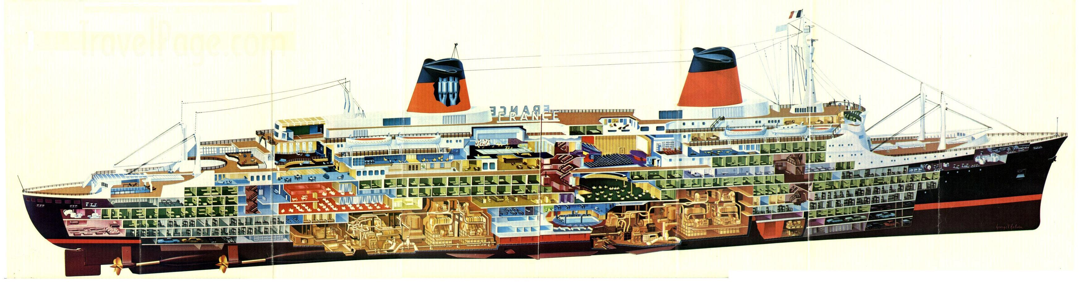Ss france liner 1961 cutaway drawing in high quality for Design hotel normandie france
