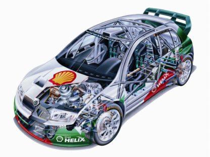 Skoda Fabia WRC rally car cutaway