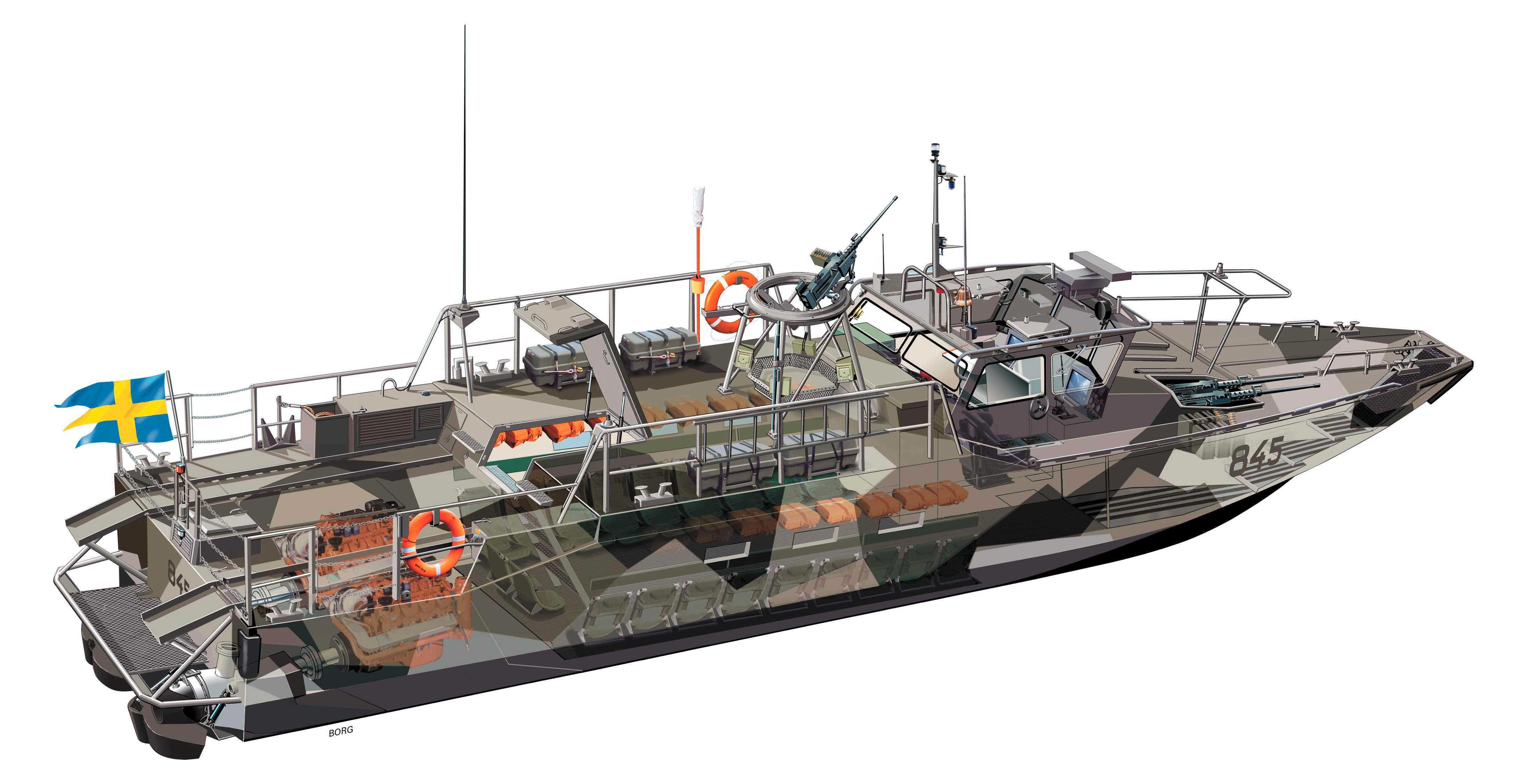 CB90-class fast assault craft cutaway