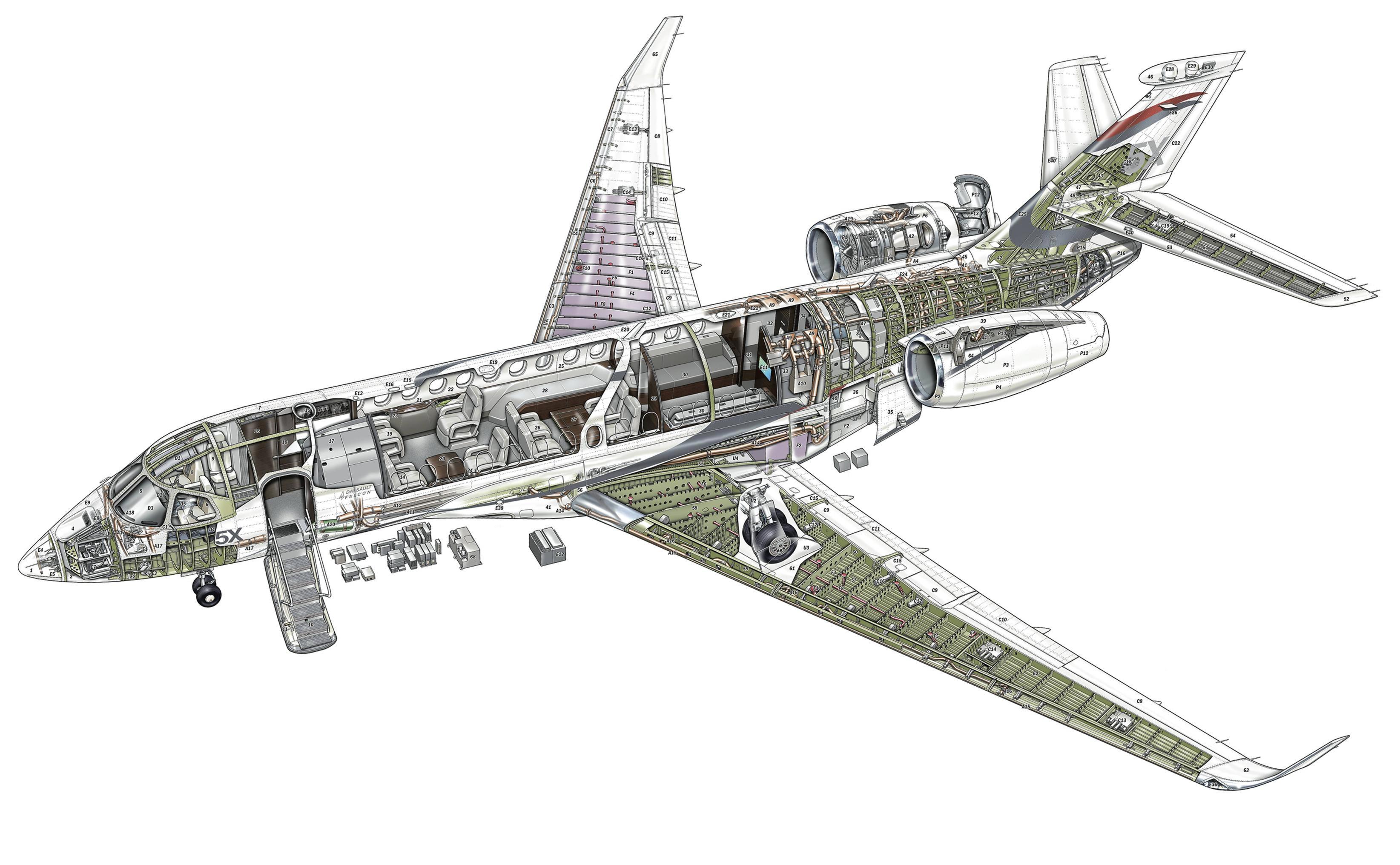 Dassault Falcon 5X cutaway