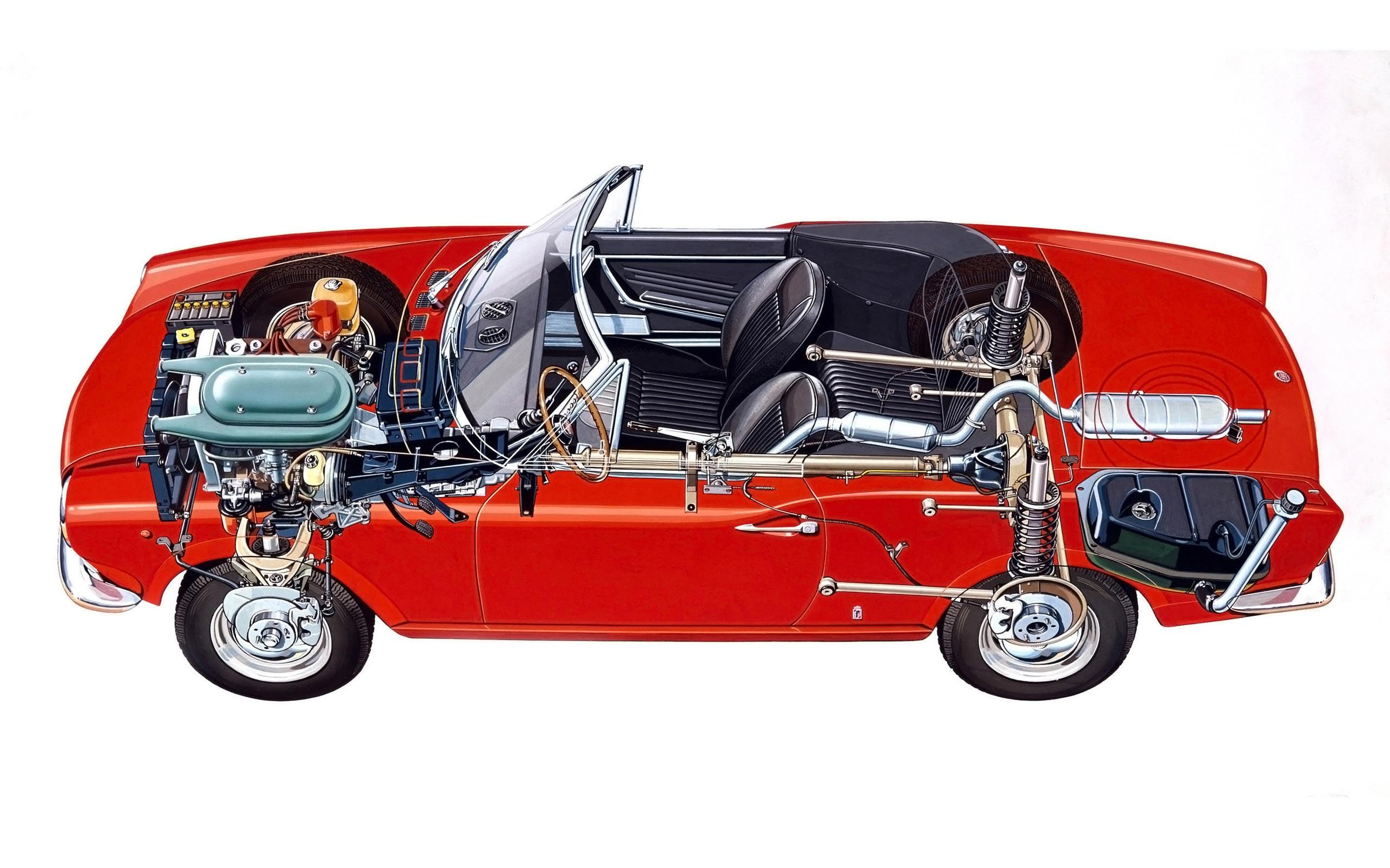 Fiat 124 Sport Spider cutaway