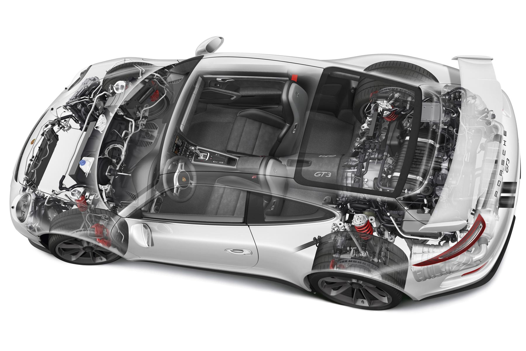 Porsche 911 Gt3 Cutaway Drawing In High Quality