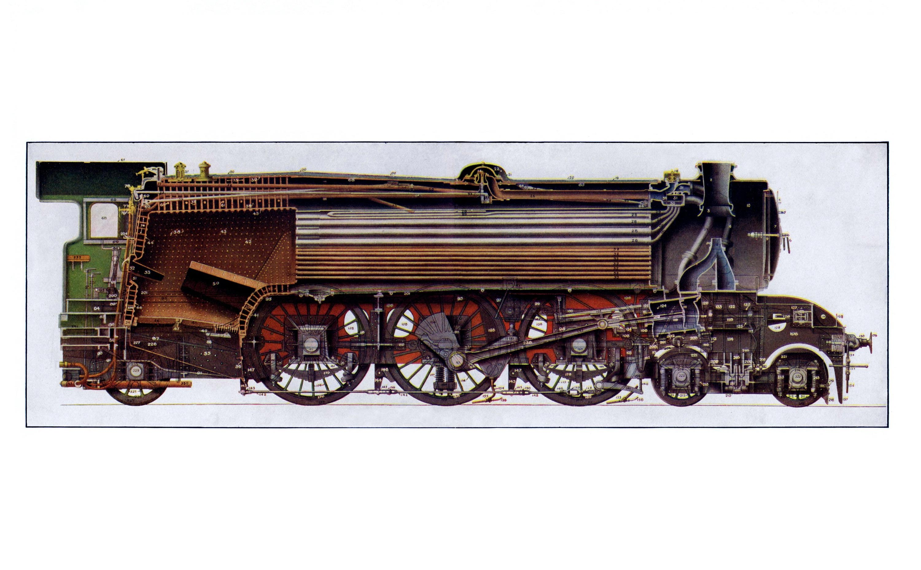 4-6-2 three-cylinder Pacific express locomotive cutaway