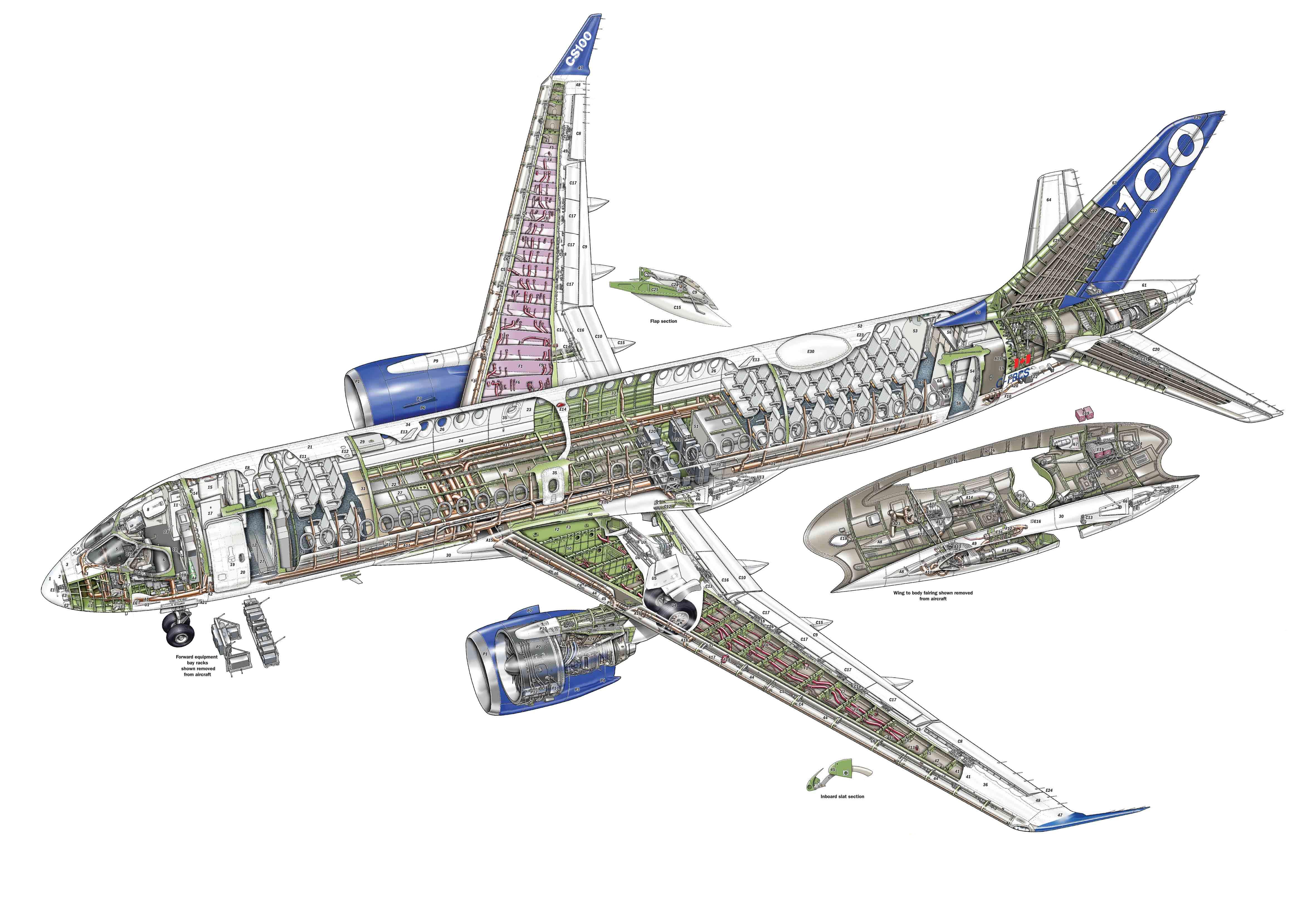 Bombardier CS100 cutaway