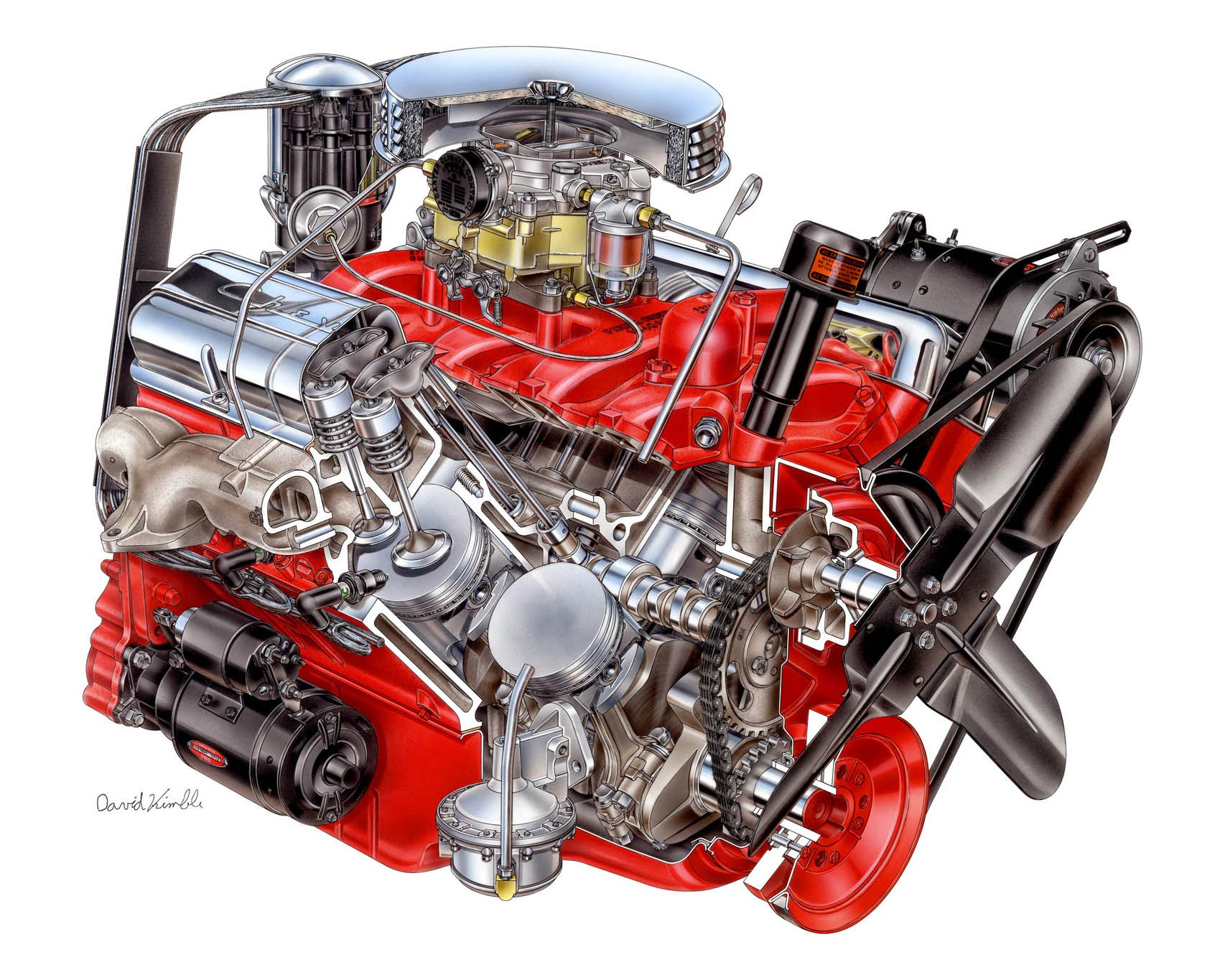 Chevrolet Corvette V8 engine cutaway